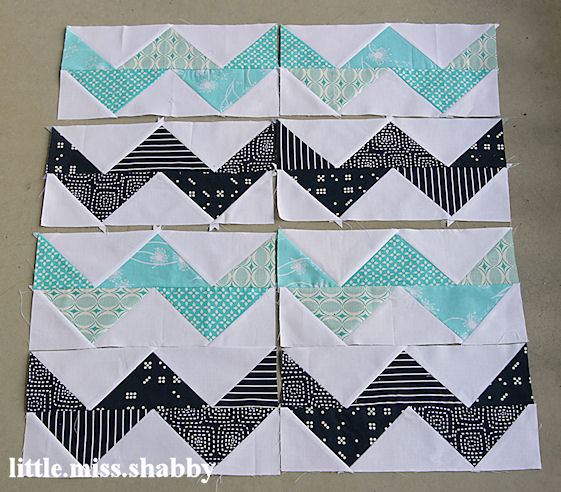 Aqua Navy Chevron Blocks